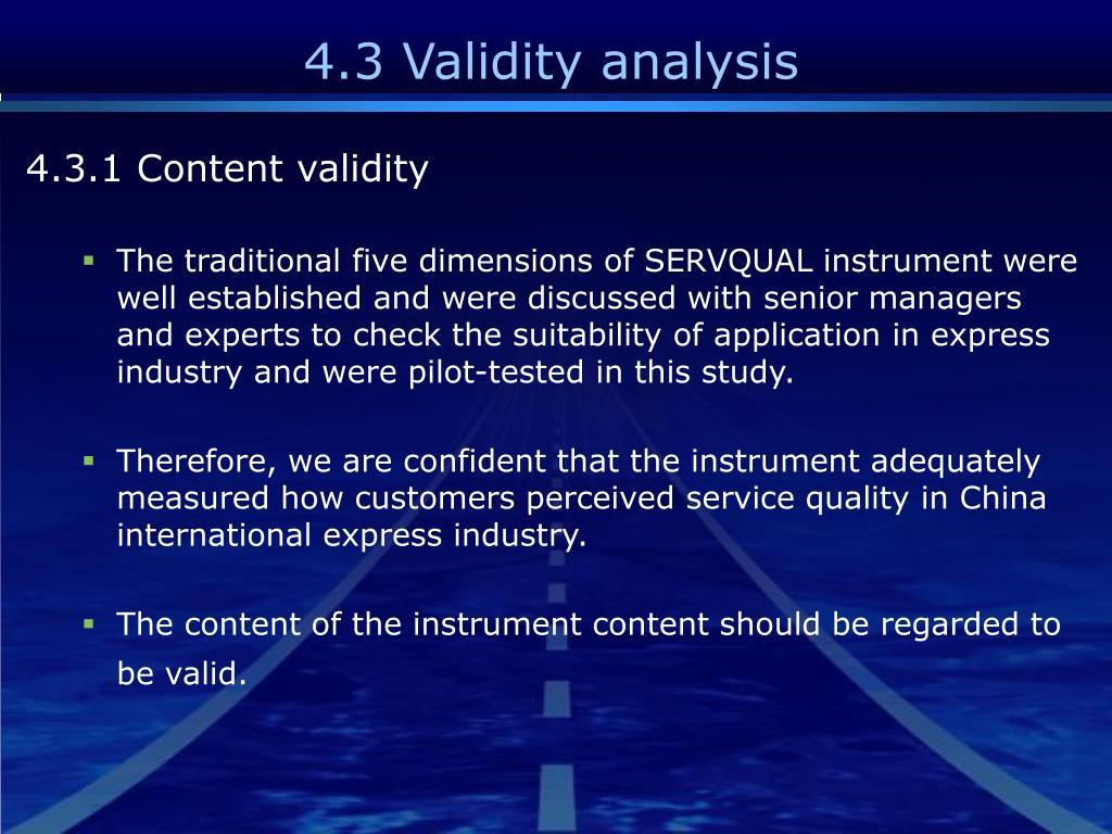 4.3 Validity analysis