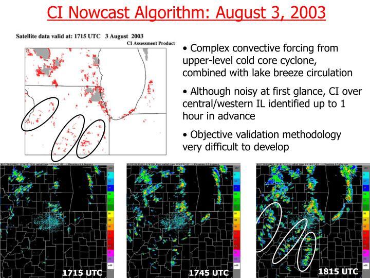 CI Nowcast Algorithm: August 3, 2003