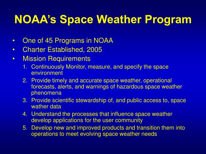 NOAA's Space Weather Program