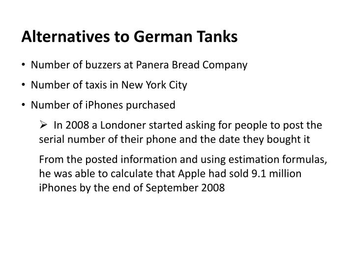 Alternatives to German Tanks