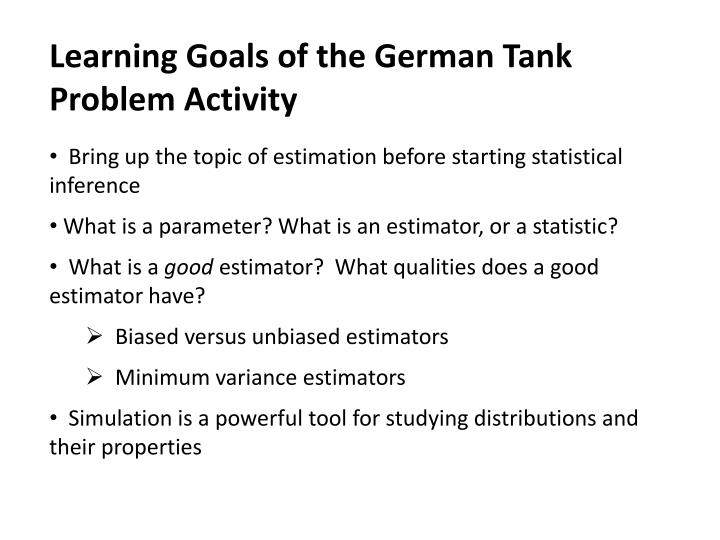 Learning Goals of the German Tank Problem Activity