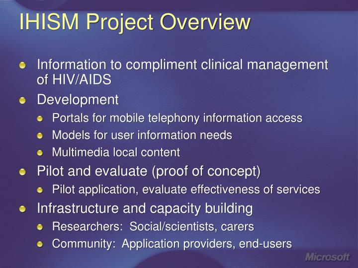 IHISM Project Overview