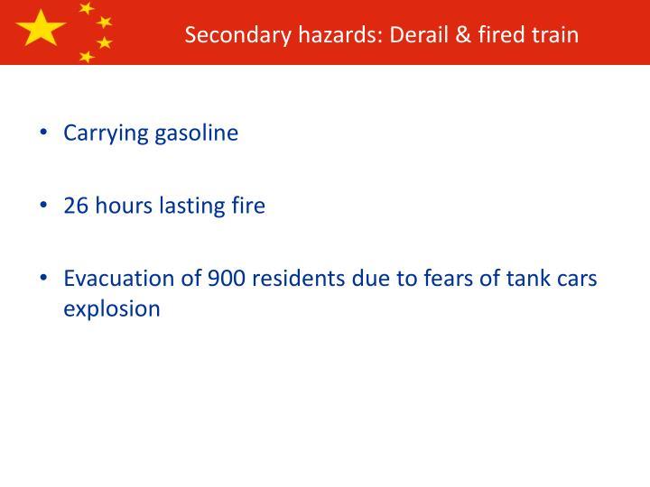 Secondary hazards: Derail & fired train
