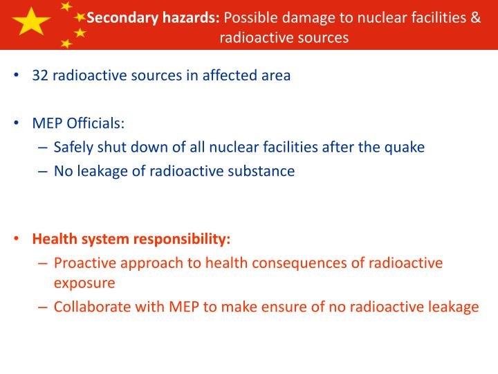 Secondary hazards: