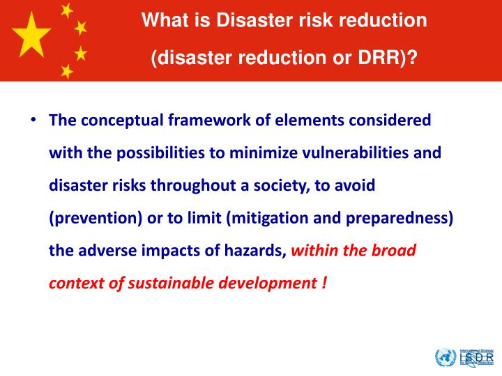 What is Disaster risk reduction