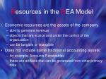 r esources in the r ea model