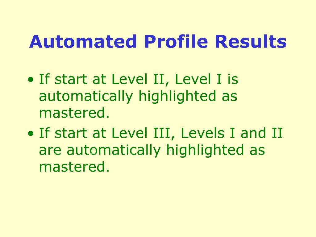 Automated Profile Results