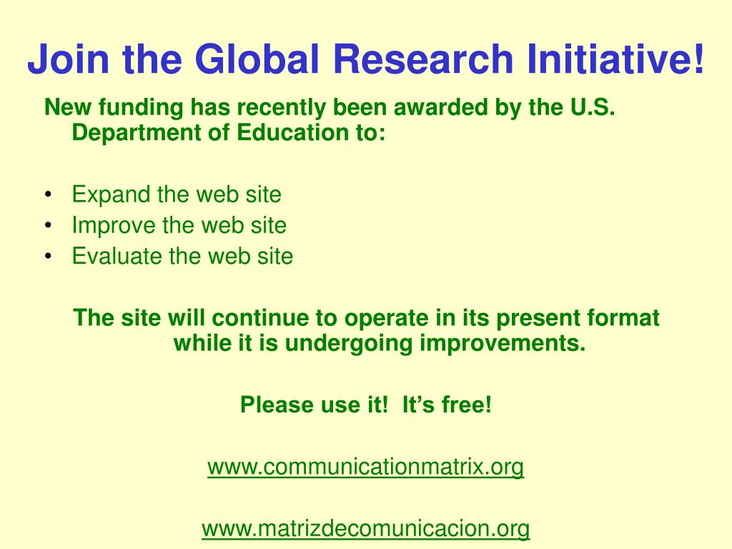 Join the Global Research Initiative!