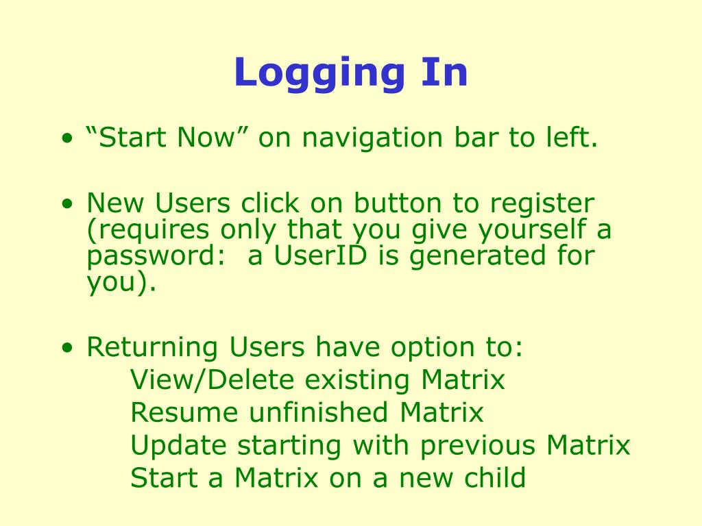 Logging In