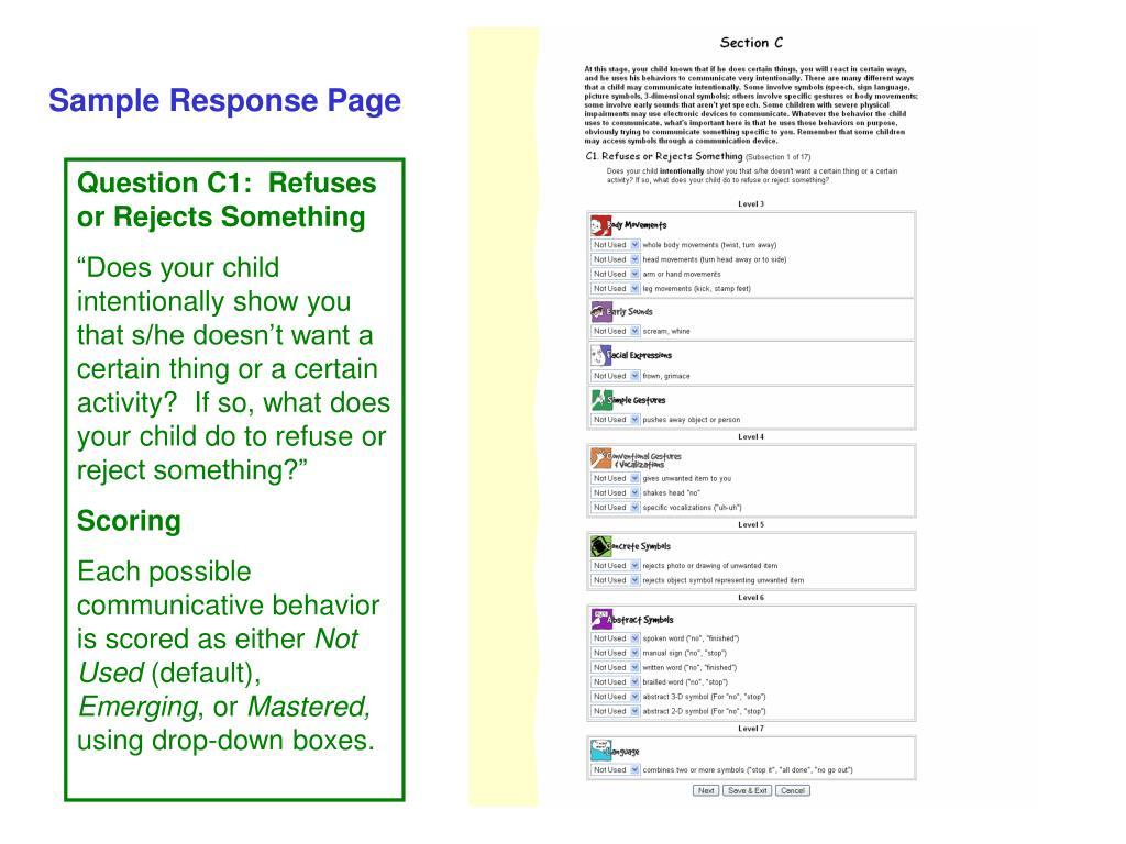 Sample Response Page