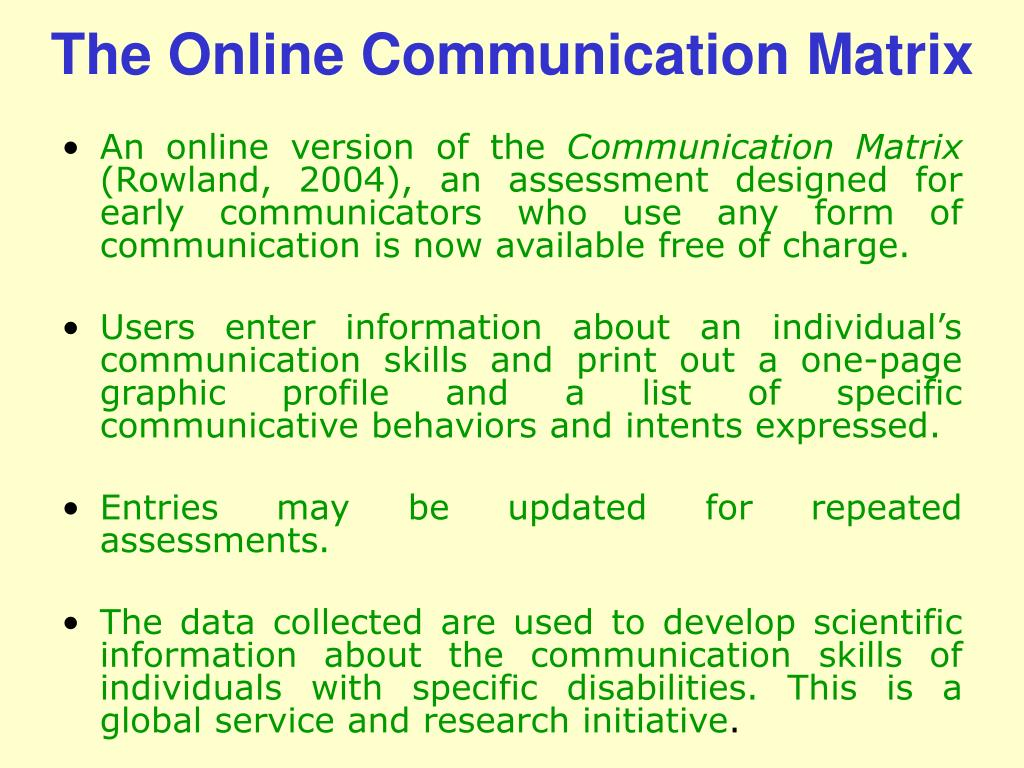 The Online Communication Matrix