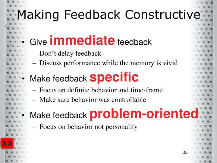 Making Feedback Constructive