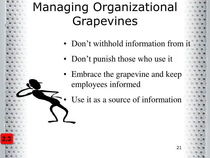 Managing Organizational Grapevines