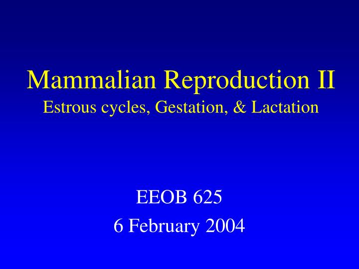 mammalian reproduction ii estrous cycles gestation lactation