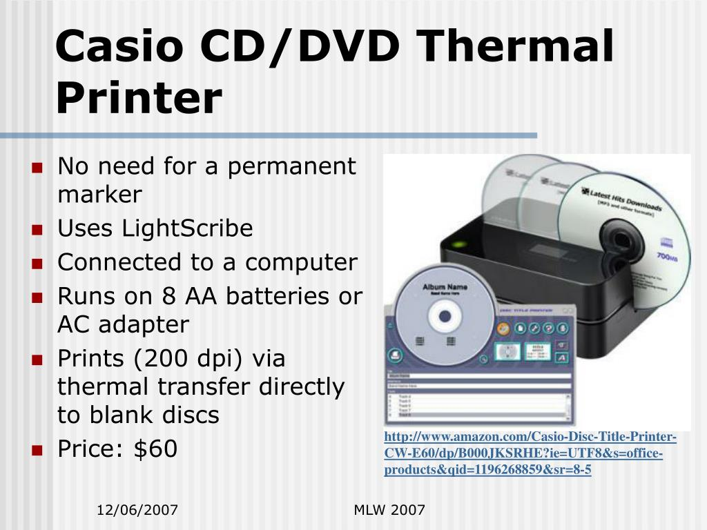 Casio CD/DVD Thermal Printer