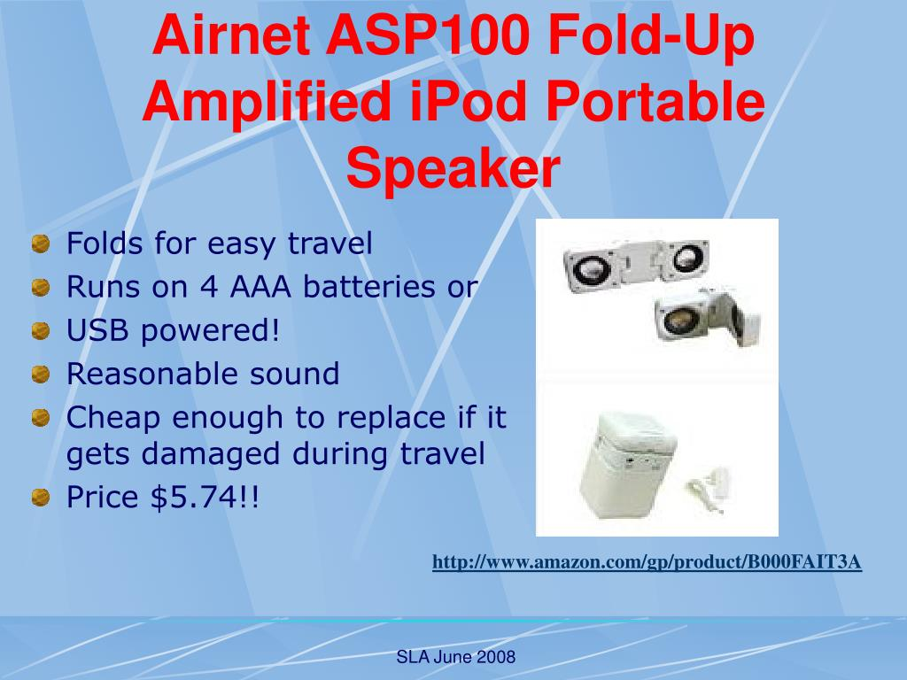 Airnet ASP100 Fold-Up Amplified iPod Portable Speaker