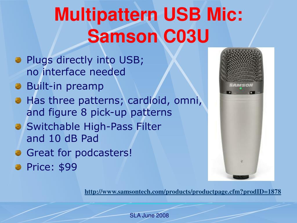 Multipattern USB Mic: Samson C03U