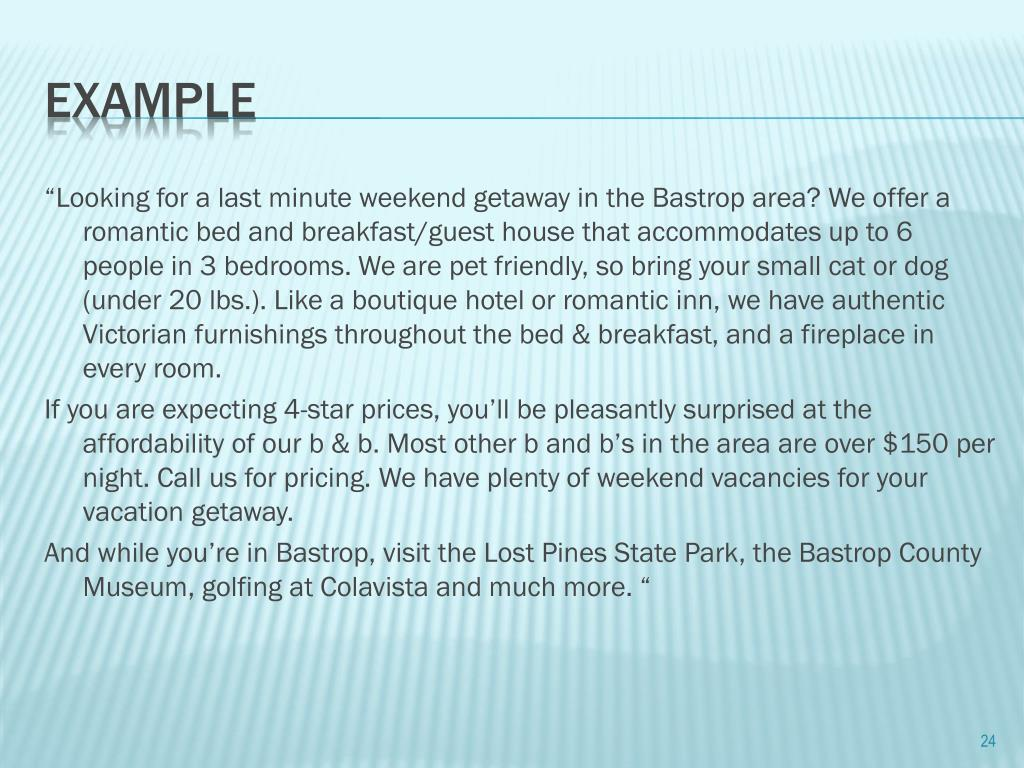 """Looking for a last minute weekend getaway in the Bastrop area? We offer a romantic bed and breakfast/guest house that accommodates up to 6 people in 3 bedrooms. We are pet friendly, so bring your small cat or dog (under 20 lbs.). Like a boutique hotel or romantic inn, we have authentic Victorian furnishings throughout the bed & breakfast, and a fireplace in every room."