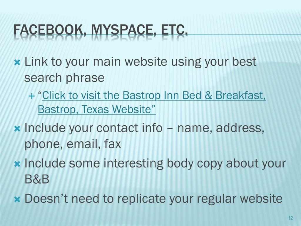 Link to your main website using your best search phrase