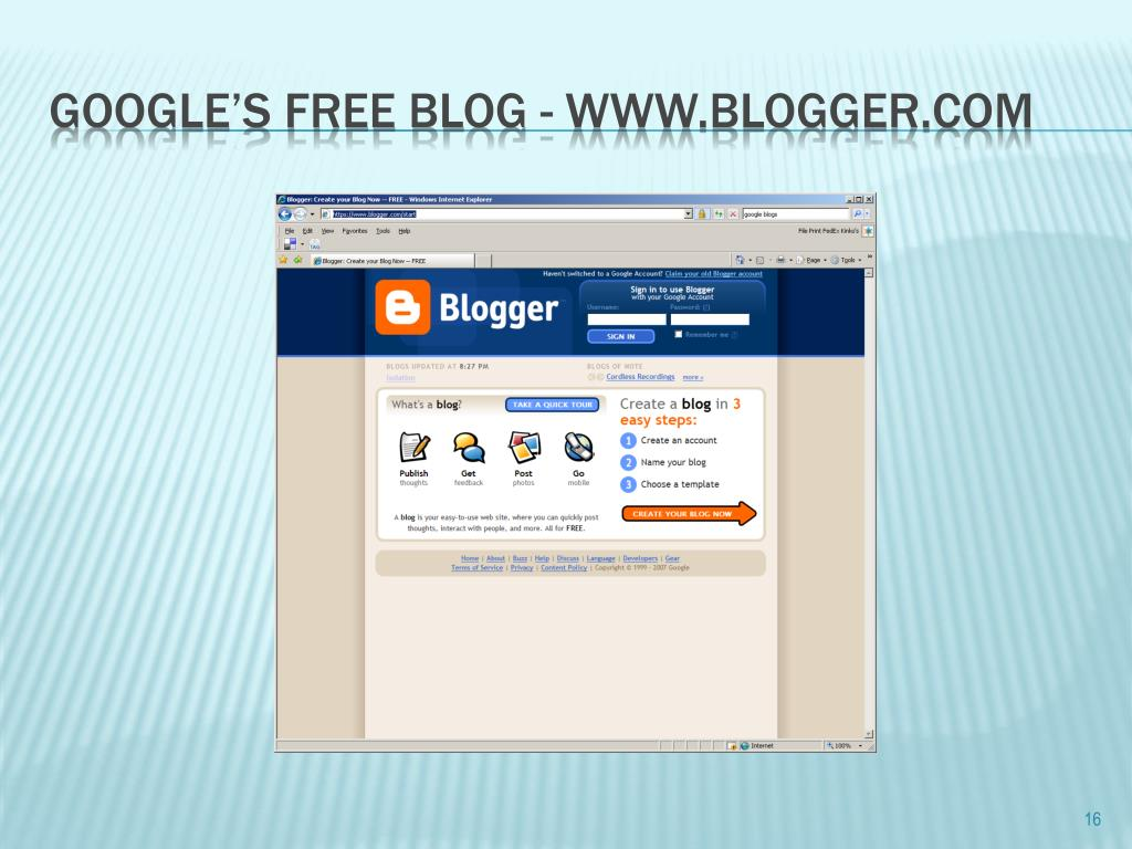 Google's free Blog - www.blogger.com