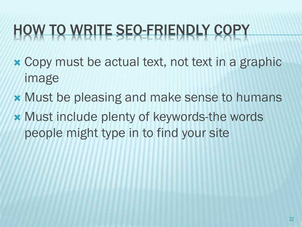Copy must be actual text, not text in a graphic image