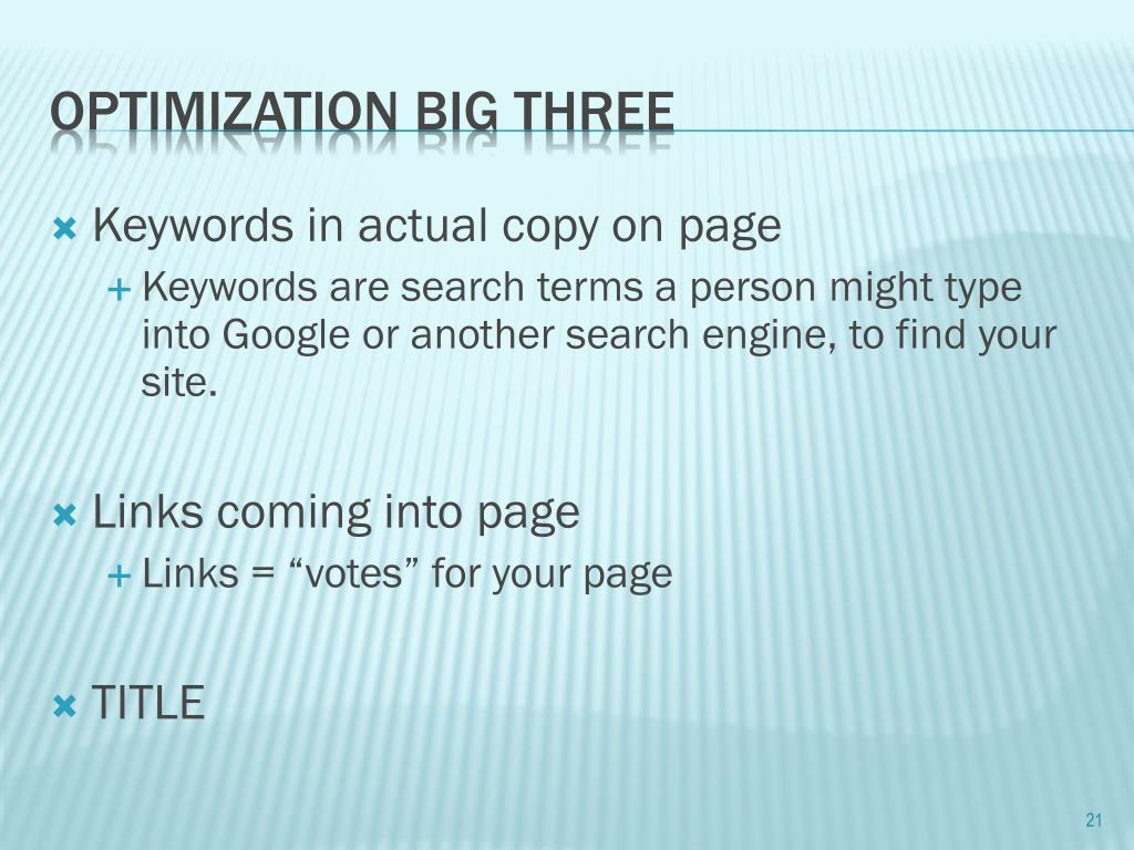 Keywords in actual copy on page