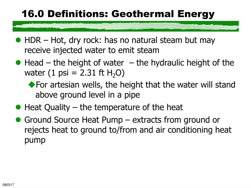 16.0 Definitions: Geothermal Energy