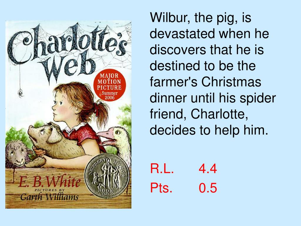 Wilbur, the pig, is devastated when he discovers that he is destined to be the farmer's Christmas dinner until his spider friend, Charlotte, decides to help him.