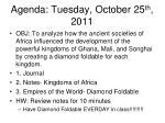agenda tuesday october 25 th 2011