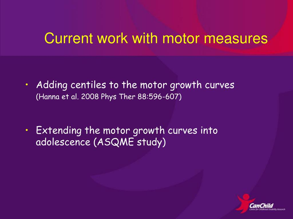 Current work with motor measures
