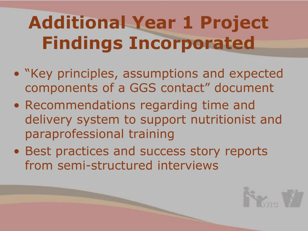 Additional Year 1 Project Findings Incorporated