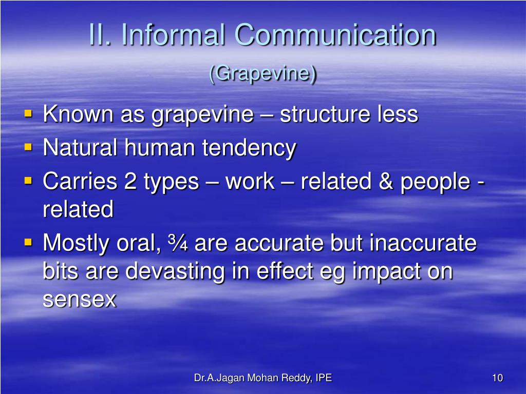II. Informal Communication