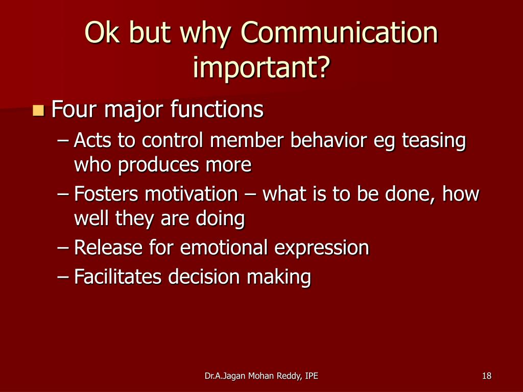 Ok but why Communication important?