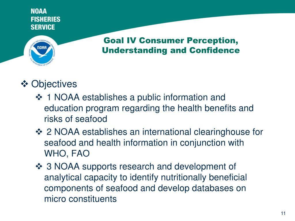 Goal IV Consumer Perception, Understanding and Confidence