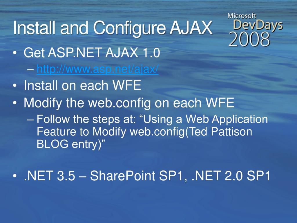 Install and Configure AJAX