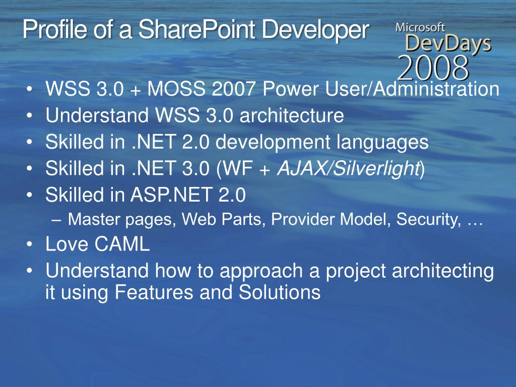 Profile of a SharePoint Developer