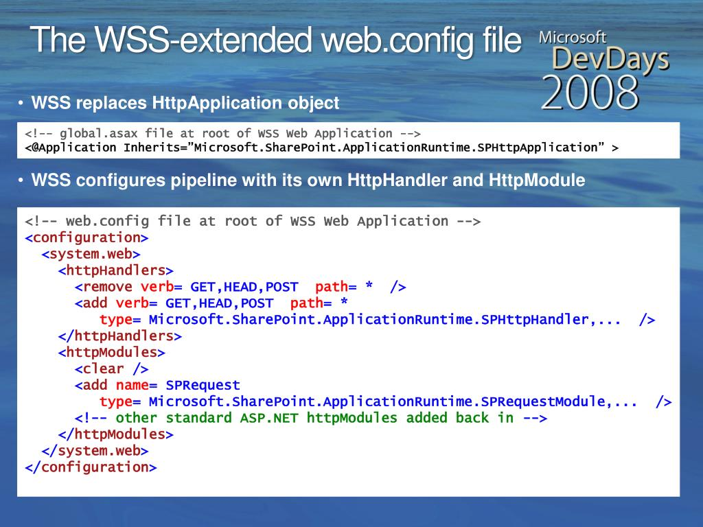 The WSS-extended web.config file