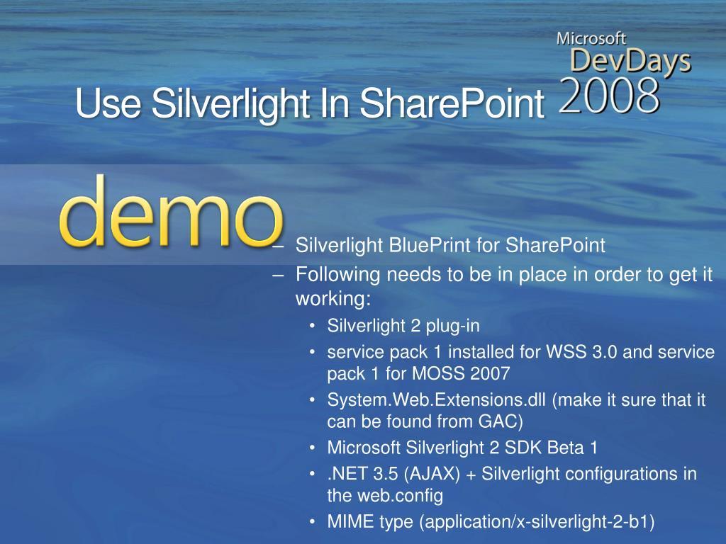 Silverlight BluePrint for SharePoint