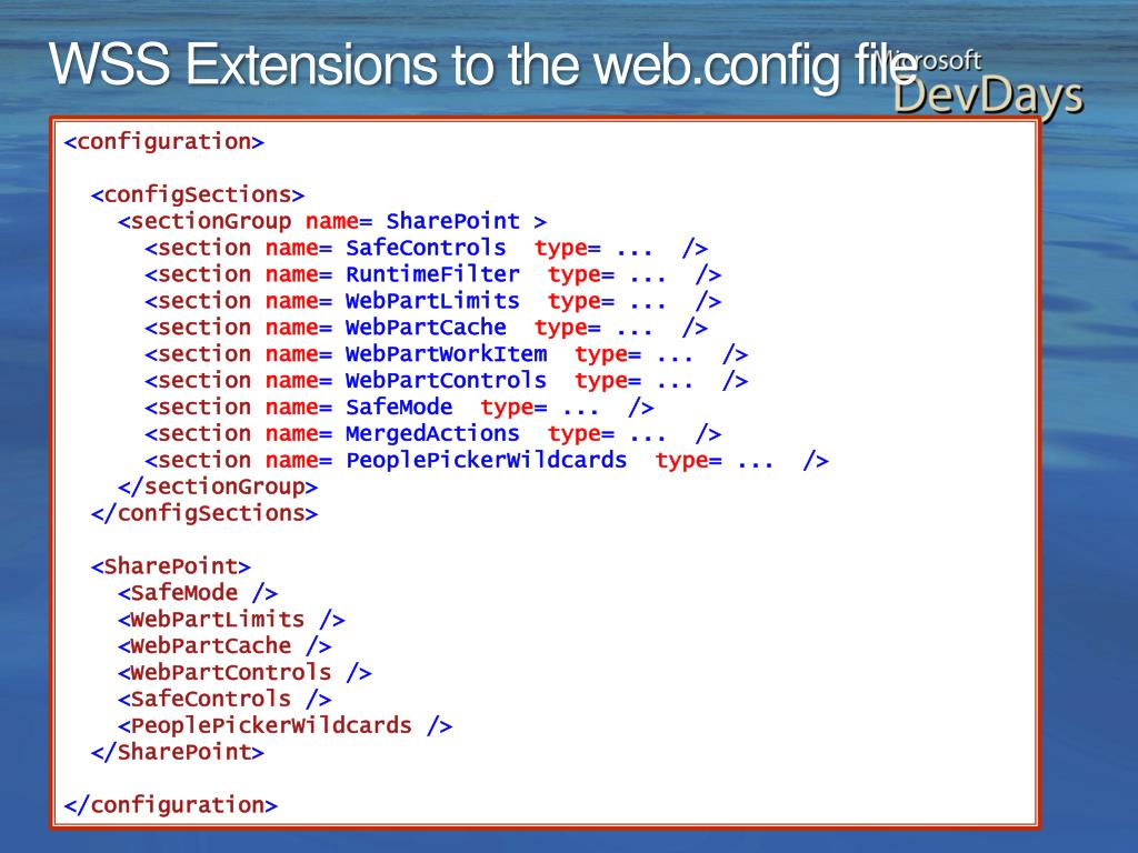 WSS Extensions to the web.config file
