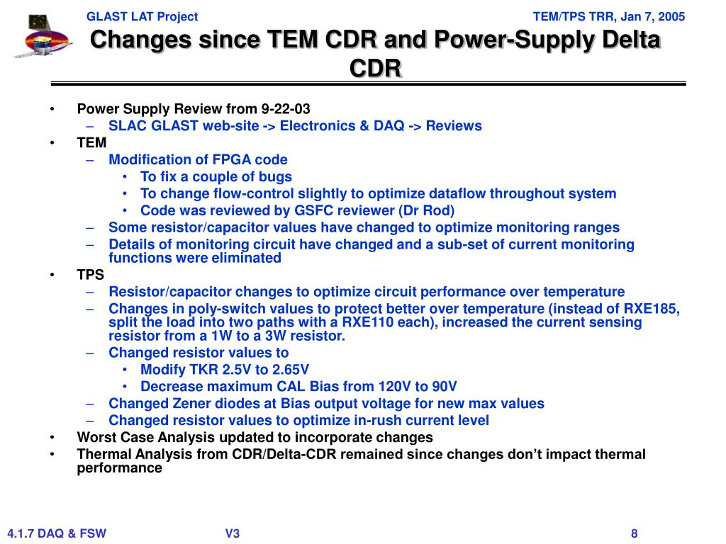 Changes since TEM CDR and Power-Supply Delta CDR