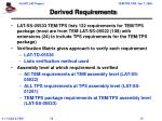 derived requirements