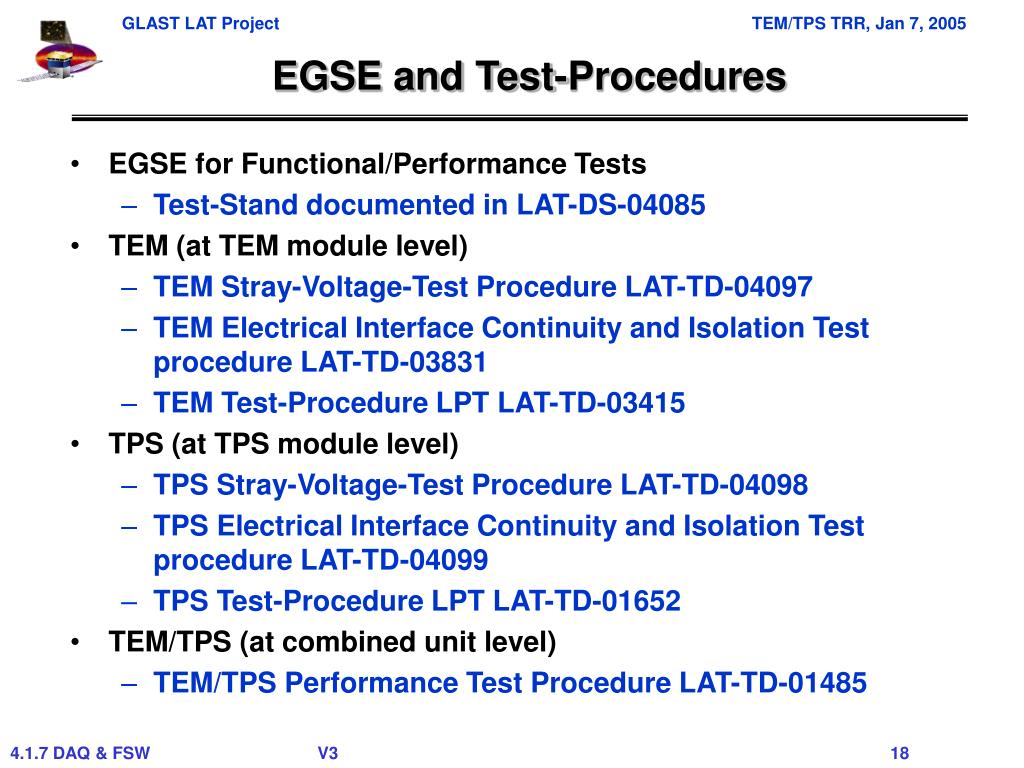 EGSE and Test-Procedures