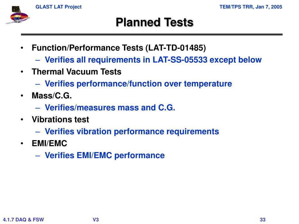 Planned Tests