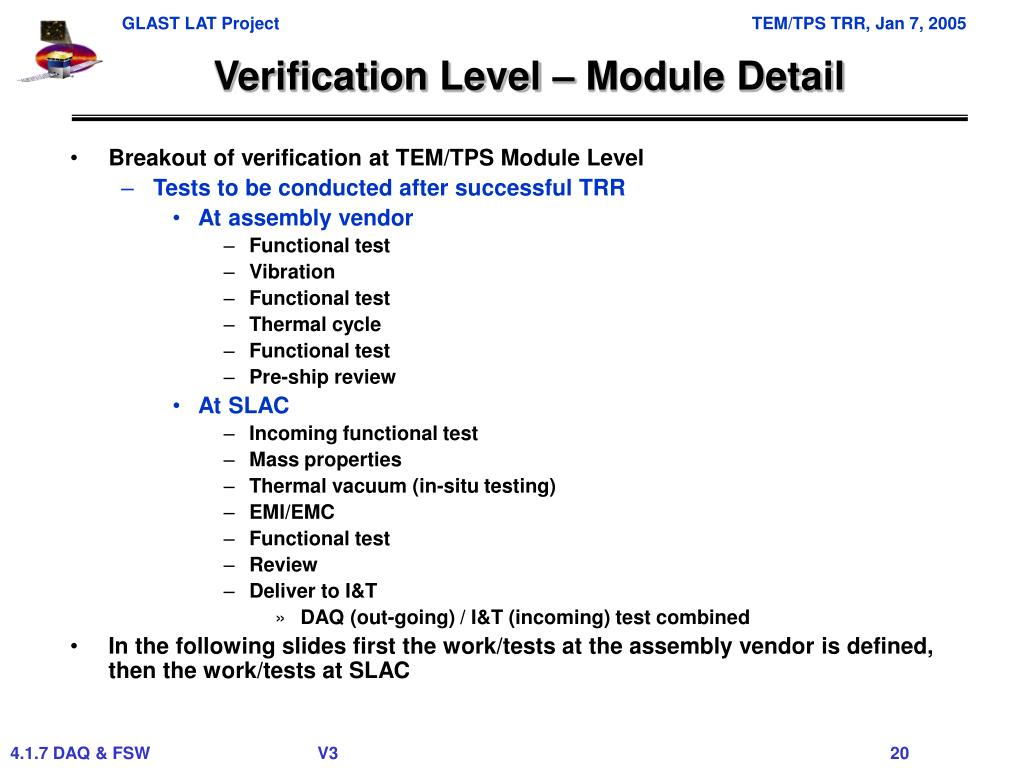 Verification Level – Module Detail