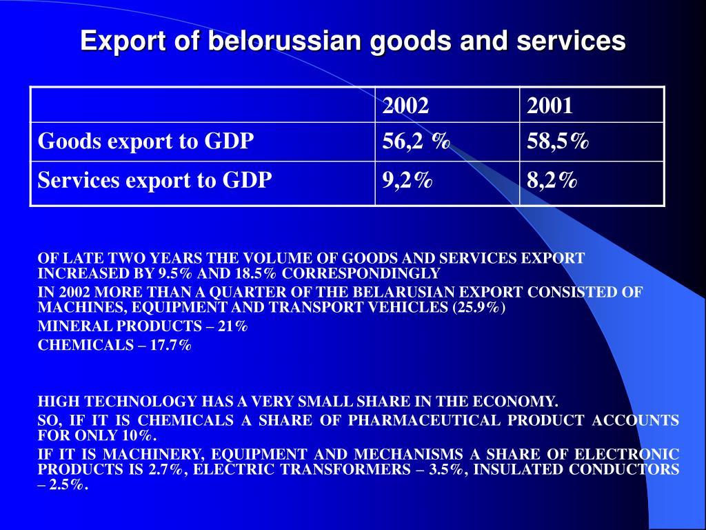 Export of belorussian goods and services