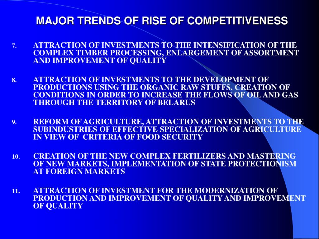 MAJOR TRENDS OF RISE OF COMPETITIVENESS