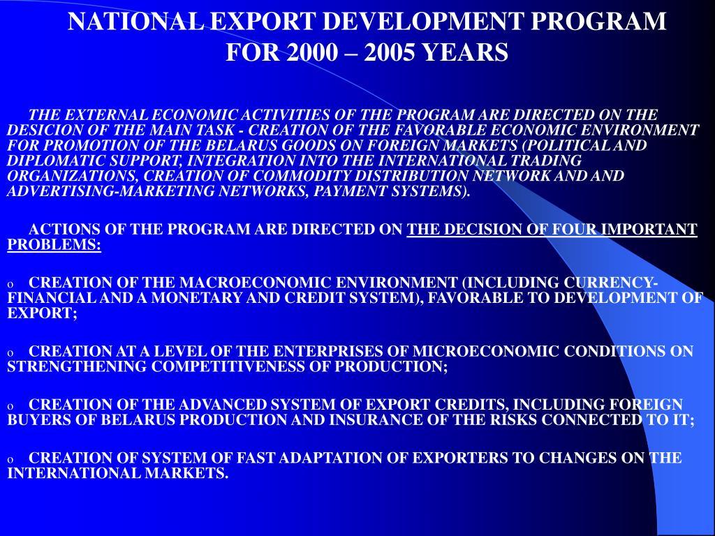 NATIONAL EXPORT DEVELOPMENT PROGRAM