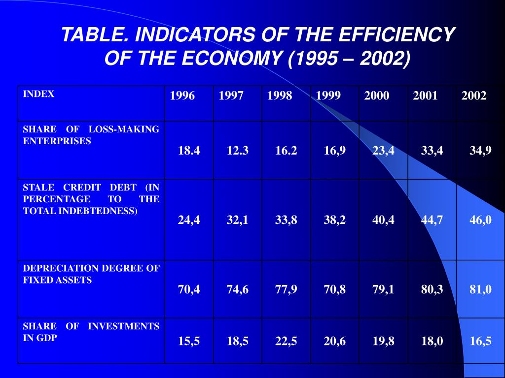 TABLE. INDICATORS OF THE EFFICIENCY OF THE ECONOMY (1995 – 2002)
