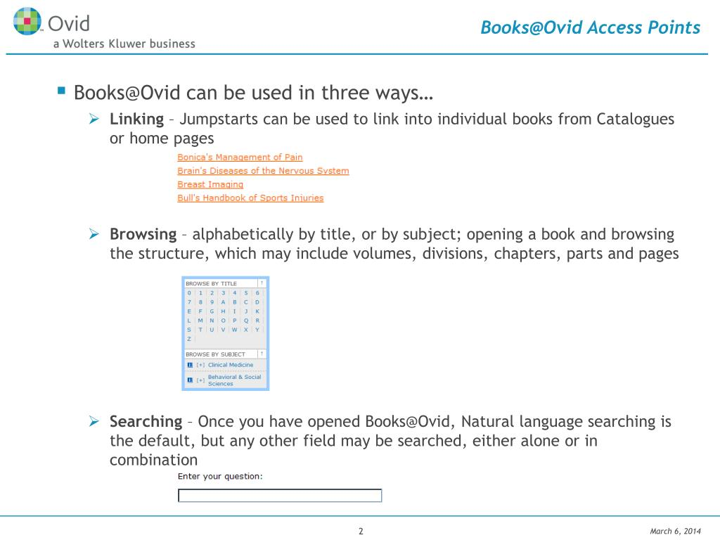 Books@Ovid Access Points