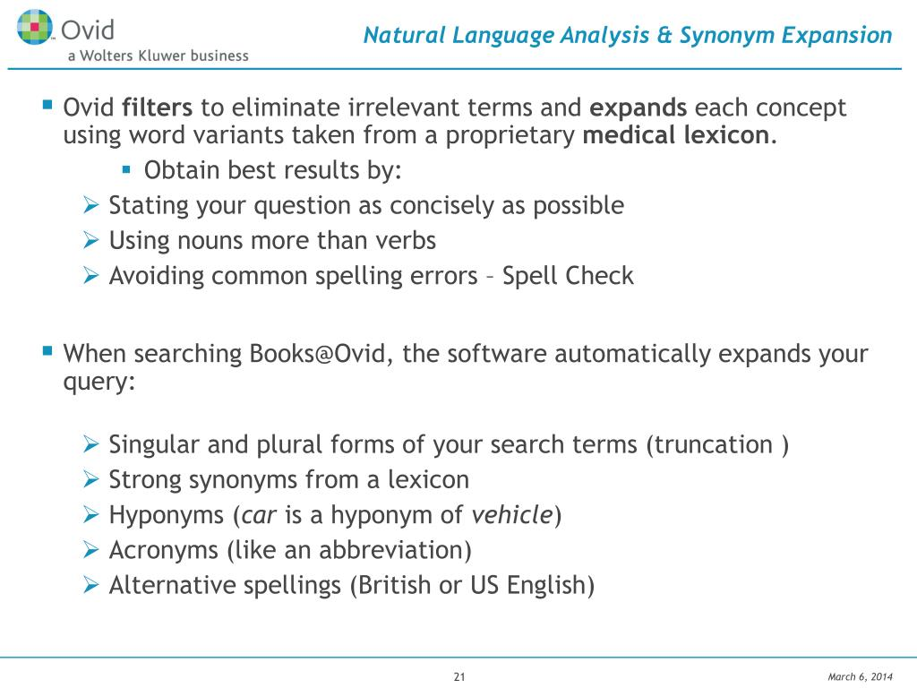 Natural Language Analysis & Synonym Expansion